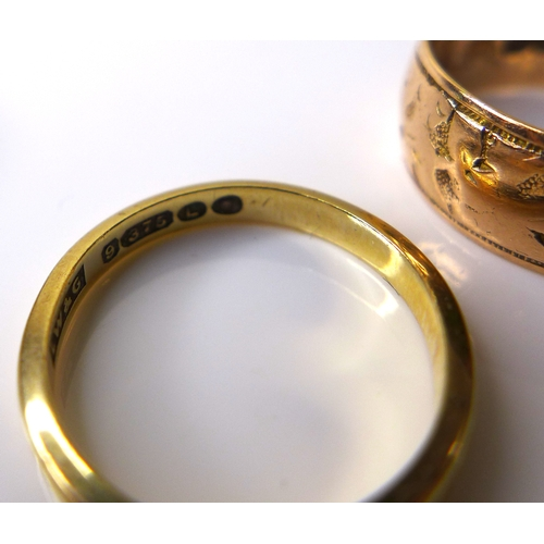 199 - Three 9ct gold rings, comprising a Clogau gold ring, size L/M, a decorated band, size M/N, and a pla...
