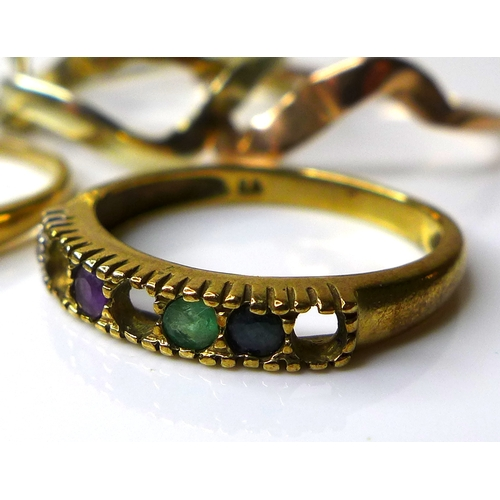 179 - A group of three 9ct gold rings, comprising a Russian tri-gold wedding ring, a diamond and sapphire ...