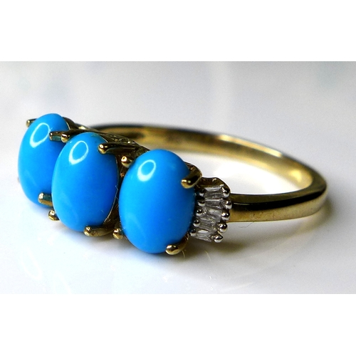 175 - A 9ct gold three stone turquoise and diamond ring, the three oval turquoise stones each of approxima...