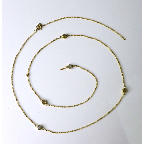173 - A 9ct gold and diamond necklace, with five round brilliant cut diamonds in rubover settings, overall...