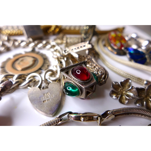 171 - A group of vintage and later silver jewellery, including a silver gilt rope necklace, a similar neck...