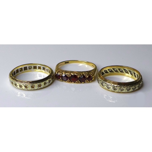 195 - Two 9ct gold wedding bands, each studded with small white stones, size R and size M, together with a...