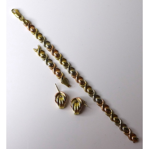 161 - A 9ct tricoloured gold bracelet formed of cross and oval links, a/f, together with a pair of associa...