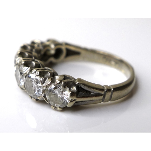 332 - An 18ct white gold and diamond seven stone ring, each diamond approximately 0.3ct and 4mm diameter, ...