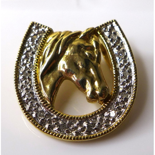 162 - A 9ct gold and diamond horse pendant, 1.9g, together with four loose cut sapphires. (5)...