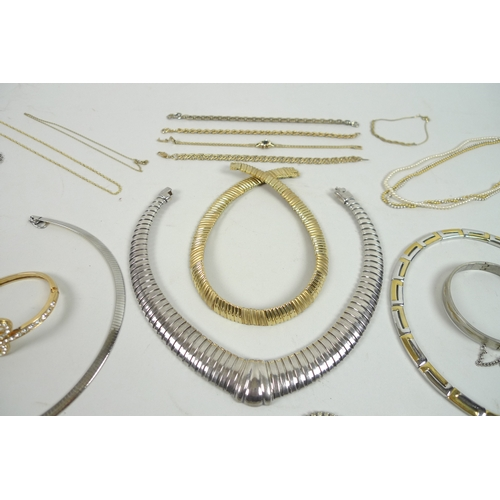 168 - A quantity of silver, yellow and white metal costume jewellery, including several diamante items and...