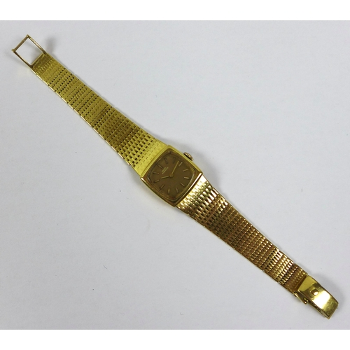 152 - An 18ct gold Girard Perregaux lady's wristwatch, circa 1978, with textured link 18ct gold strap, the...