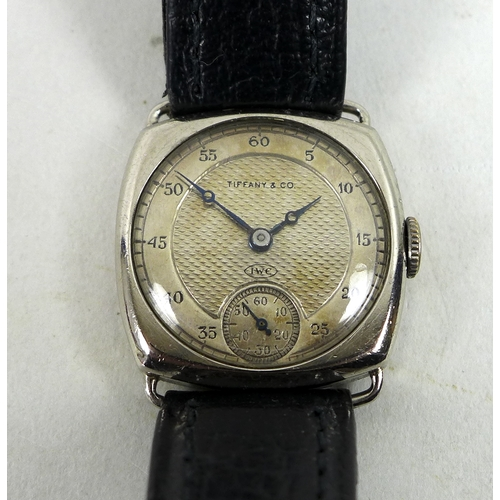 151 - An Art Deco IWC for Tiffany & Co. 18ct white gold cased ladies wristwatch, circular silvered dial wi...
