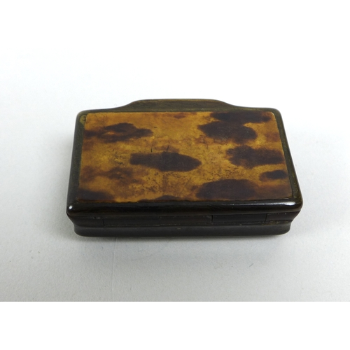 117 - A group of siver, vertu and collectables, comprising a Georgian horn snuff box with tortoiseshell ve...