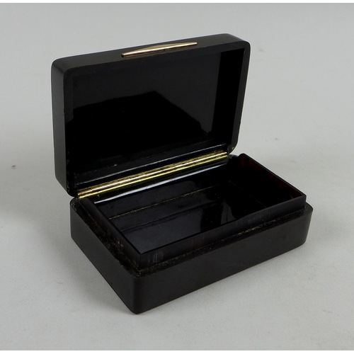 121 - A Georgian style faux tortoiseshell box, circa 1940, of rectangular section with hinged lid inset wi...