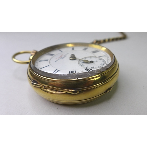 134 - A George V 18ct gold open faced pocket watch, key wind, the white enamel dial signed 'Best' English ...
