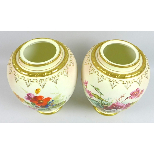 4 - A pair of modern Royal Worcester blush ivory potpourri vases and pierced covers, decorated in 'Victo...