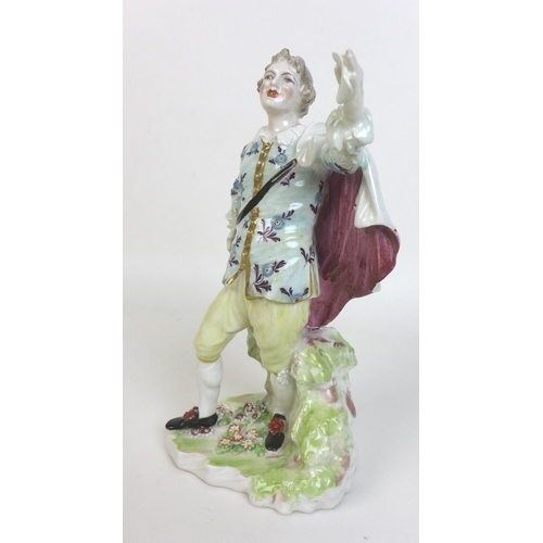 33 - A pair of late 18th century Derby soft paste porcelain companion figures, William Duesbury & Co., ci...