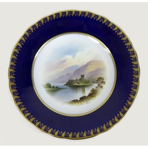 36 - A Spode Copelands China 'landscape views' part dessert service, circa 1900, each painted with a high...