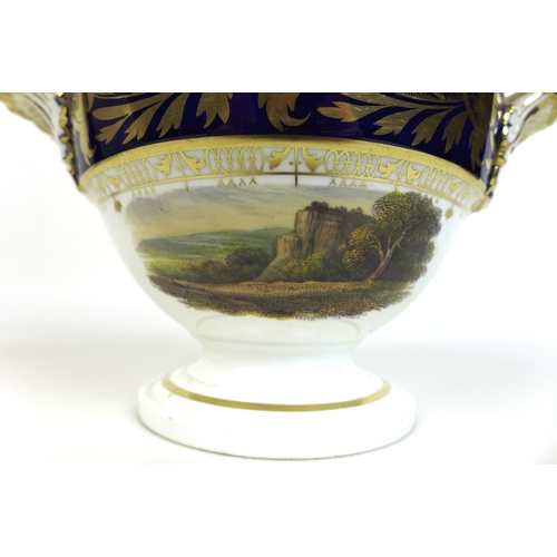 37 - A Bloor Derby porcelain 'landscape views' part service, circa 1830, each painted with a different na...