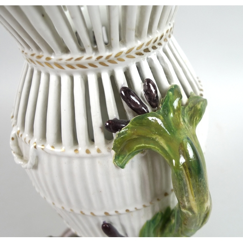 42 - A Chelsea-Derby porcelain reticulated eel-trap vase, circa 1760, emblematic of 'Water', inspired by ...