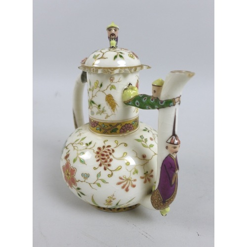 2 - A 19th century Herend style reticulated porcelain Oriental inspired tea set, with Chinese style flor...