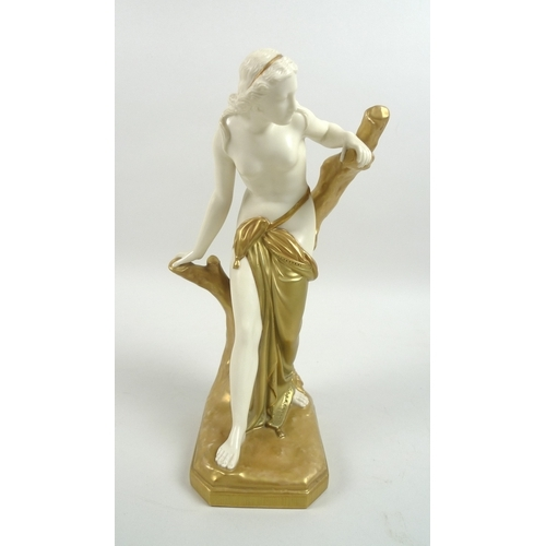 32 - An Edwardian Royal Worcester porcelain figurine, modelled as The Bather Surprised, after Sir Thomas ...