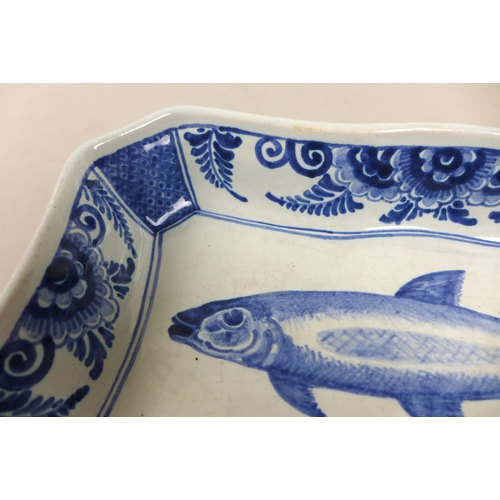 25 - A 20th century Delft blue and white rectangular herring dish, with '893 Delft BE.D. 5-7' to base, 24...