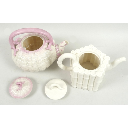 45 - Two 19th century Belleek teapots, comprising a Tridacna tea kettle with pink coral decoration and fi...