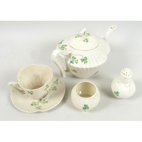 46 - A small group of Belleek 'Harp Shamrock' items, comprising a teapot, 13cm high, with third black mar...