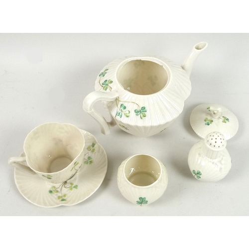 46 - A small group of Belleek 'Harp Shamrock' items, comprising a teapot, 13cm high, with third black mar...