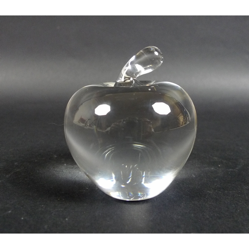 8 - A Tiffany & Co clear glass paperweight, in the form of an apple, circa 1980, 7.5cm, together with a ...