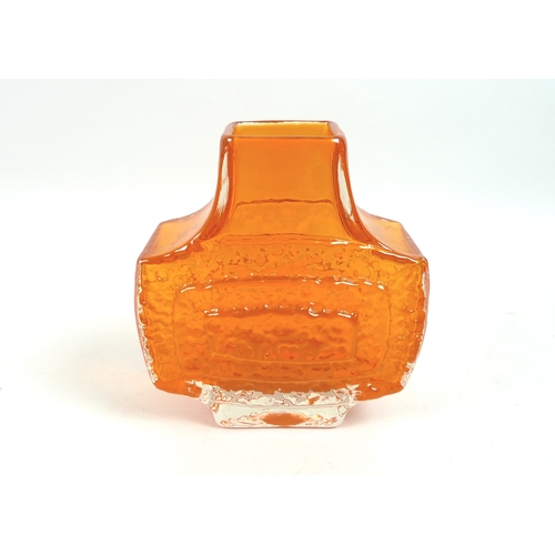 9 - A Whitefriars tangerine glass 'Concentric TV' vase, circa 1970, from the textured range designed by ...
