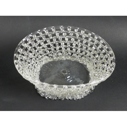 10 - A late 18th century Liege a Traforato glass basket, of oval trumpet form, with openwork trellis trai...