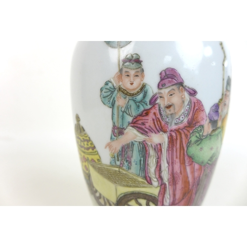 106 - A Chinese Republic porcelain vase, of baluster form with flared rim, decorated in enamels with four ...