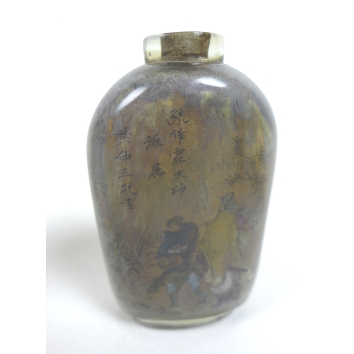 90 - A group of six Chinese snuff bottles, comprising a 19th century cylindrical porcelain example with g...