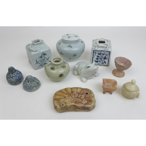 77 - A group of Chinese Song dynasty and later stoneware and porcelain, comprising a Ming style stoneware...