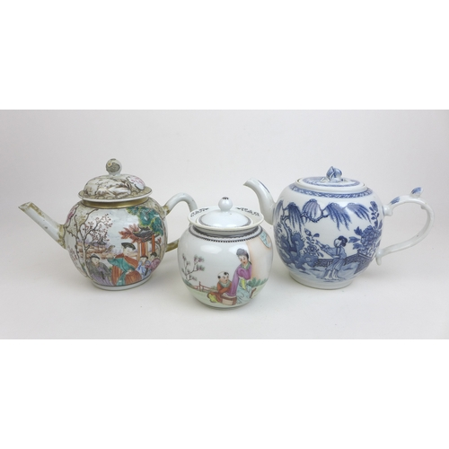 102 - An 18th century Chinese porcelain Cantonese pattern wine pot, with two reserves depicting a figures ...