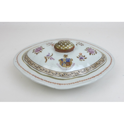 100 - A Chinese armorial porcelain oval lidded tureen,  18th century, its lid with armorial crest to eithe...