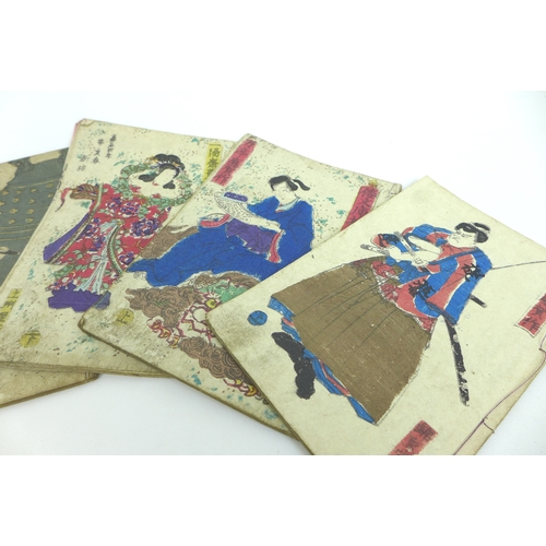 71 - Twelve late 19th century Japanese woodblock printed books, each with coloured front and back cover p...