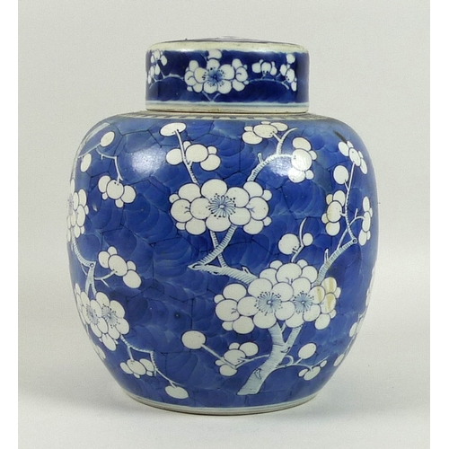 105 - A large Chinese porcelain ginger jar, Qing Dynasty, 18th century, decorated in underglaze blue with ...