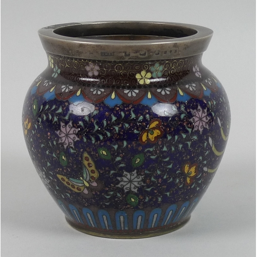 63 - A 19th century Chinese cloisonne vase, depicting a brightly coloured bird in flight, further with bu...
