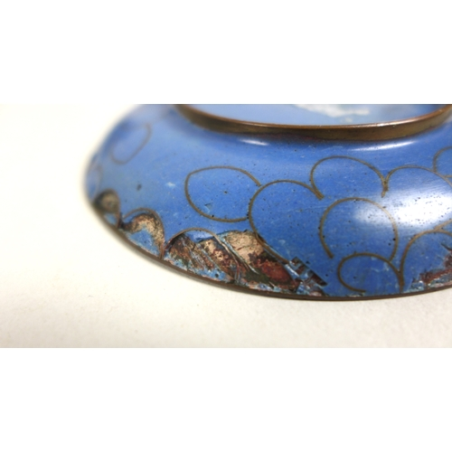 62 - A group of eight pieces of cloisonne, comprising an angler fish/swan brush pot 12cm long, five pin t...