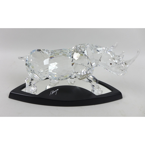 17 - A Swarovski Numbered Limited Edition figure of The Rhinoceros, numbered 07328/10000, this impressive...