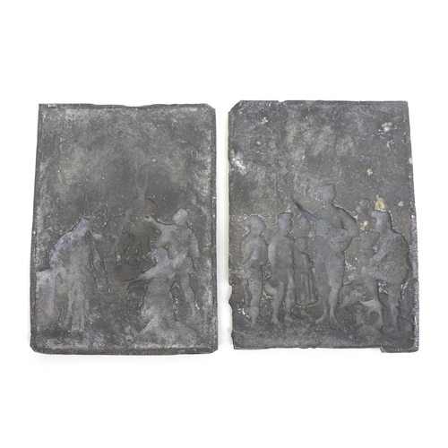 111 - Three decorative metal ware plaques, comprising two bronze panels featuring a 16th century continent...