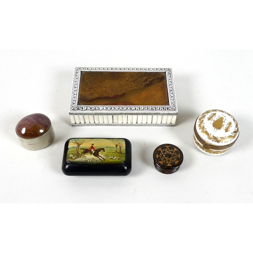 110 - A small group of boxes, comprising a white metal box with red stone cabochon to lid, a black snuff b...