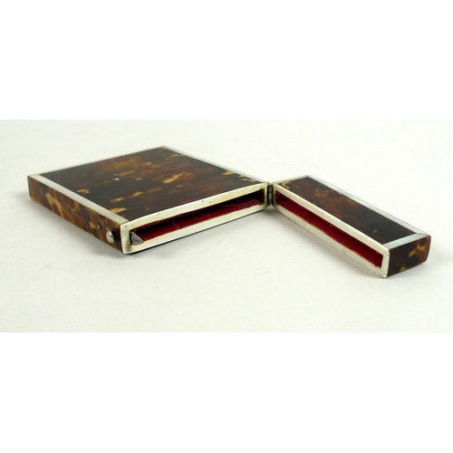 116 - A group of three Georgian & Victorian card cases, comprising a Georgian tortoiseshell card case, hin...
