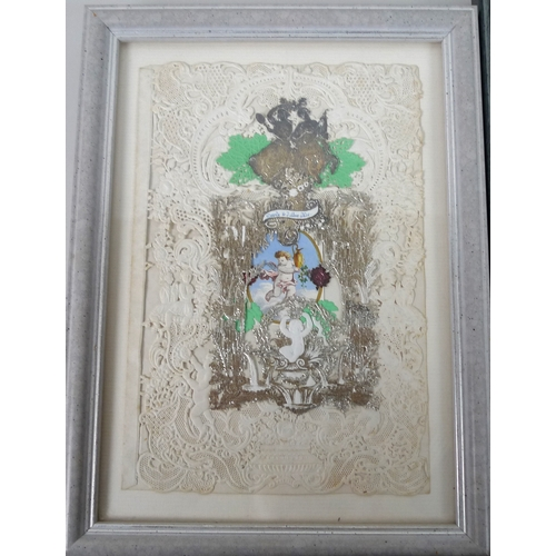 118 - A group of five Victorian valentine postcards, each glazed and framed. (5)...