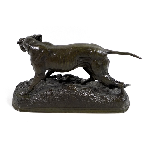 131 - After Jules Moigniez (French, 1835-1894): a bronze sculpture modelled as a pointer, on oval naturali...