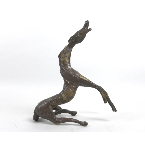 127 - A 20th century abstract horse figurine, the elongated horse posed rearing up from its hind legs, uns...