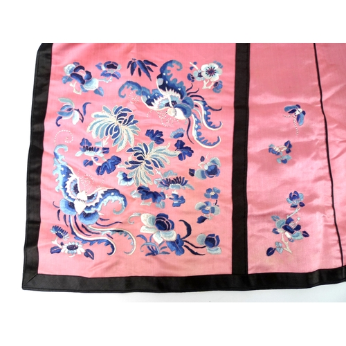 65 - A 1940s style Japanese silk kimono, embroidered floral pattern of silver coloured thread on black gr...