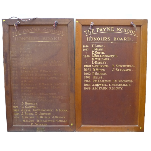 270 - A pair of mid 20th century Payne School Honours boards, each with a roll call of student names datin...