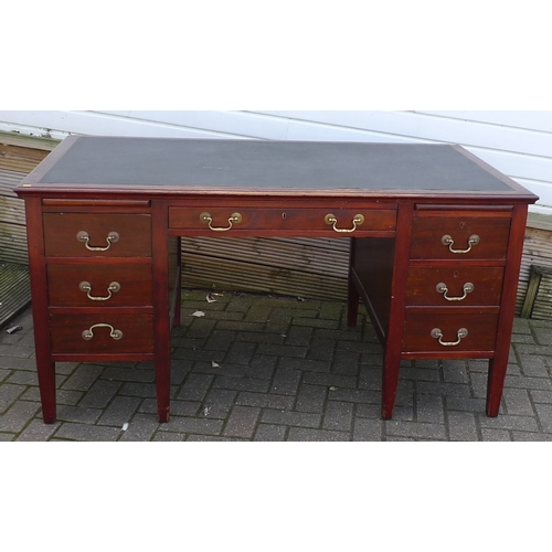 274 - A mid 20th century mahogany desk, by Cooke's (Finsbury) Ltd, six drawers to two pedestals inset blac...