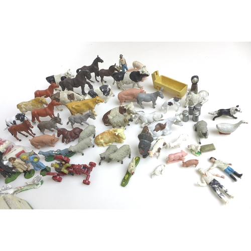 138 - A quantity of toys including a Binbak farmyard, 62.5 by 37 by 12.3cm high,  with animals, including ...