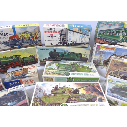 140 - A group of Airfix and Matchbox models, including sixteen Airfix 00 railway models, and seven other A...